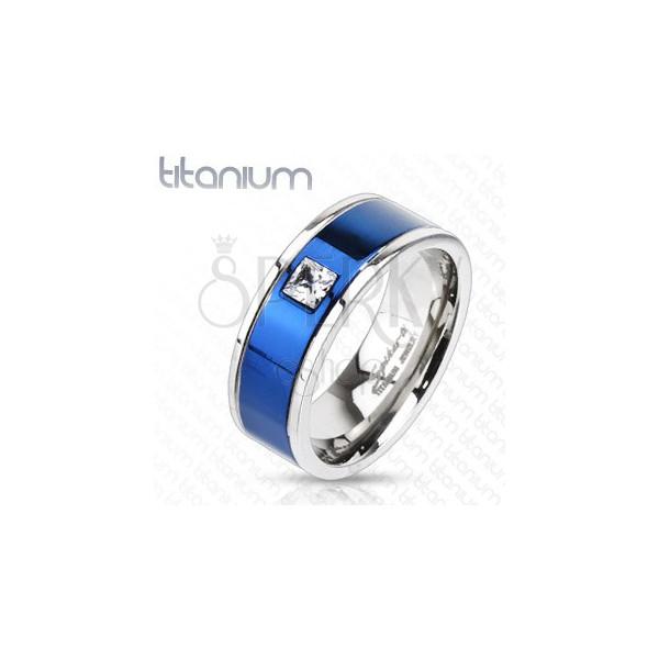 Prstan iz titana z modro linijo in kvadratnim cirkonom