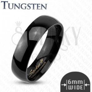 Gladek črn prstan iz volframa, 6 mm