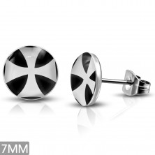 Steel post earrigns with Maltese cross