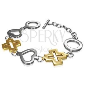 Jeklena zapestnica - krog, srce in zlat križ