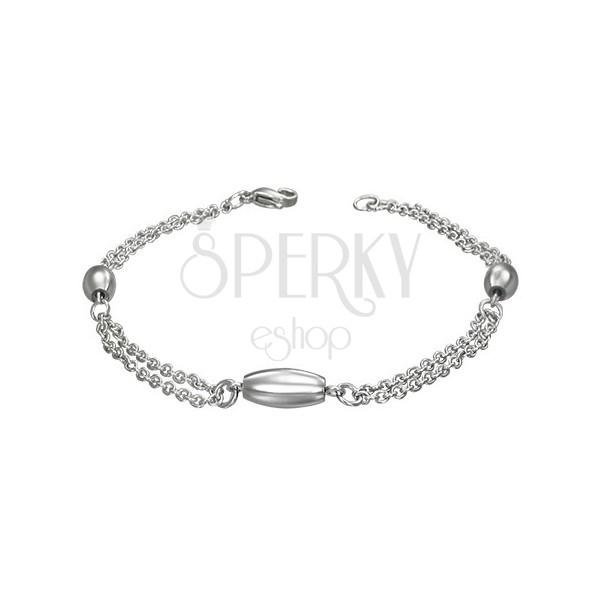 Zapestna verižica iz kirurškega jekla z ovalnimi elementi
