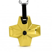 Jeklen obesek - širok križ zlate barve s črnim očesom na sredini