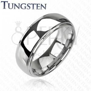 Poročni prstan iz volframa - dvignjena sredina, zrcalnat sijaj, 6 mm