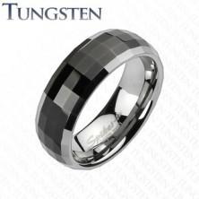 Prstan iz volframa v disko slogu - črna sredina, robova v srebrnem odtenku