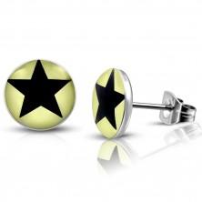 Jekleni uhani – svetlo rumeni krogi s črno zvezdo, čepki