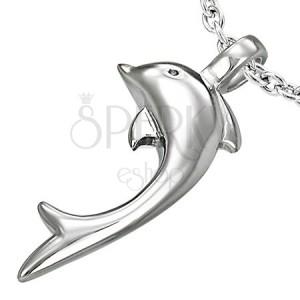 Obesek iz jekla 316 L srebrne barve, sijoč delfin