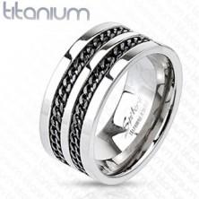 Prstan iz titana - črni verigi
