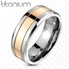 Poročni prstan iz titana s pasom zlato rožnate barve, 8 mm
