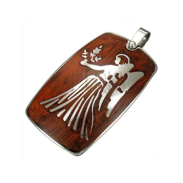Jeklen obesek z lesenim ozadjem - astrološko znamenje device