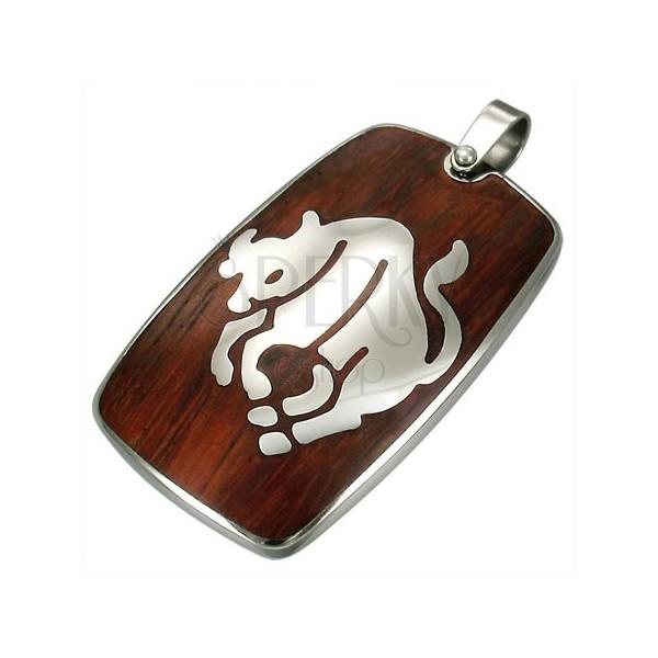 Jeklen obesek z lesenim ozadjem - astrološko znamenje bika
