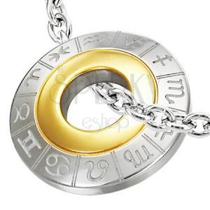 Obesek iz kirurškega jekla z zodiakalnimi znamenji, srebrne in zlate barve