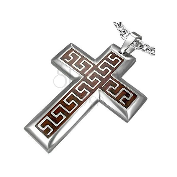 Obesek s križem iz jekla z azteškim vzorcem na rjavem ozadju