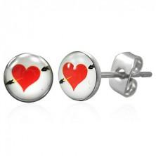Uhani iz kirurškega jekla - rdeče srce s puščico