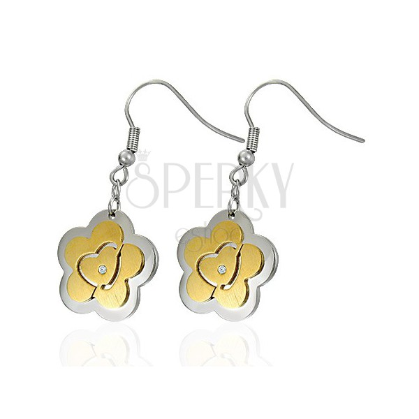 Jekleni uhani – cvet z zlatim srcem in cirkoni