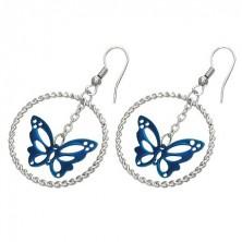 Jekleni uhani srebrne barve, moder metulj v krogu, kaveljčki