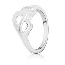 Prstan iz srebra sterling - tri srca z vdelanimi cirkoni