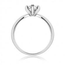 Poročni prstan iz srebra sterling - cirkon v obliki solze