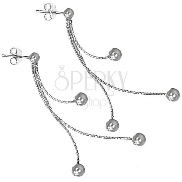 Srebrni uhani - tri verižice z bunkicami