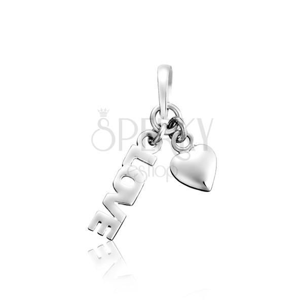 Obesek iz srebra sterling - napis LOVE s srcem