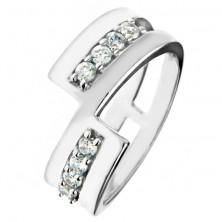 Prstan iz srebra čistine 925 - prekinjena linija, svetleči cirkoni