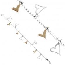 Srebrna verižna zapestnica - obeski v obliki srca v dveh odtenkih
