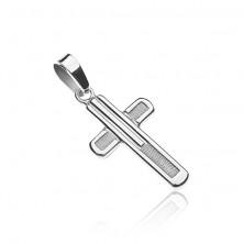 Križ iz srebra čistine 925 - bleščeč rob, strukturirana sredina