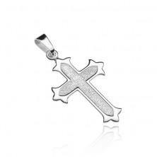 Srebrn križ - več krakov z bleščečim robom, peskasta sredina