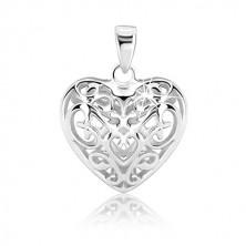 Srebrn obesek - izbočeno srce z okrasnimi elementi