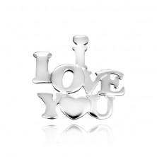 Obesek iz srebra sterling - ljubezenski napis s srcem