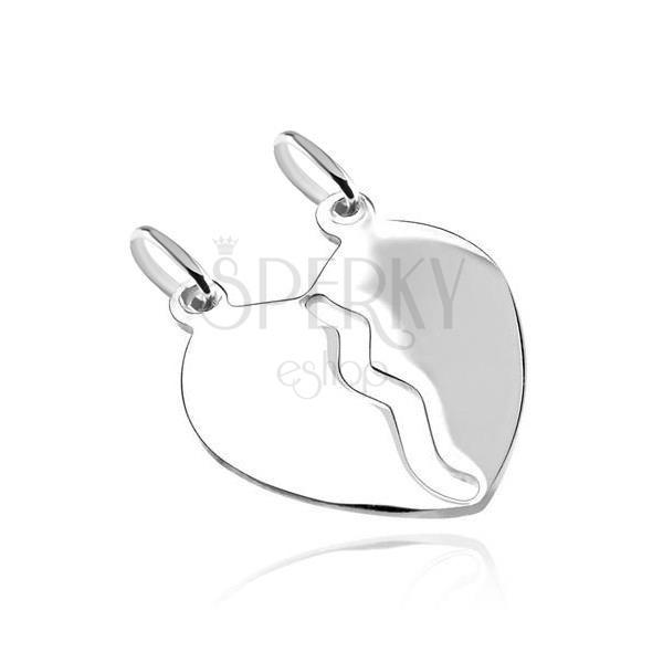 Obesek iz srebra sterling - gladko, zrcalnato, zlomljeno srce