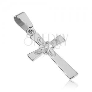Srebrn obesek - gladek križ z dekorativnim cvetom na sredini