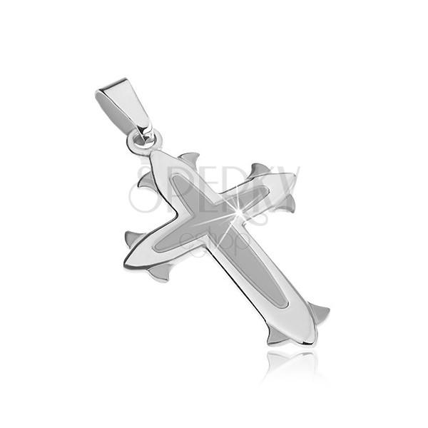 Obesek iz srebra sterling - križ z matirano sredino, dekorativne lilije na konicah