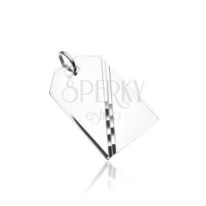 Srebrn obesek - zrcalnata ploščica z diagonalno linijo