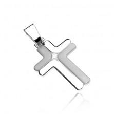 Srebrn križ - dvojna, matirana in bleščeča črka L