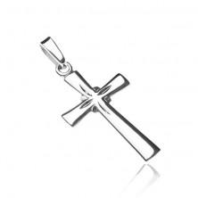 Obesek iz srebra sterling - bleščeč križ, vgravirani žarki