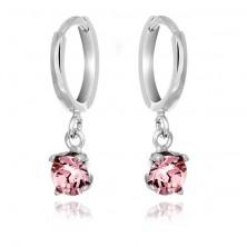 Srebrni uhani - majhni obročki, viseč roza kamenček
