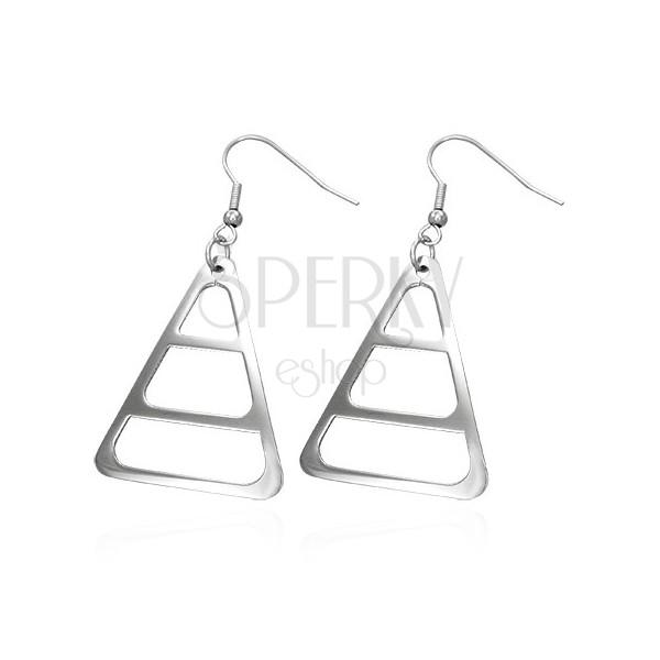 Uhani iz kirurškega jekla, srebrne barve, zaobljen trikotnik