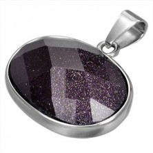 Obesek iz nerjavečega jekla z vijoličastim ovalnim kamenčkom