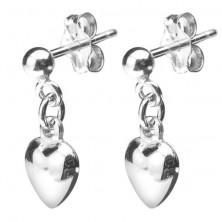 Srebrni uhani - zapolnjeno viseče srce, zapiranje z metuljčkom