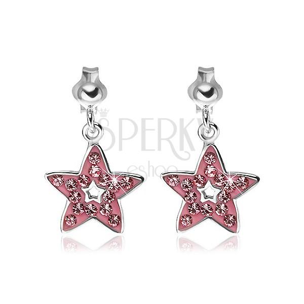 Uhani iz srebra 925 - viseča roza zvezda z okrasnimi kamenčki
