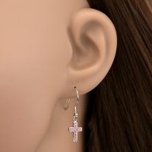 Srebrni viseči uhani - križ z roza kamenčki