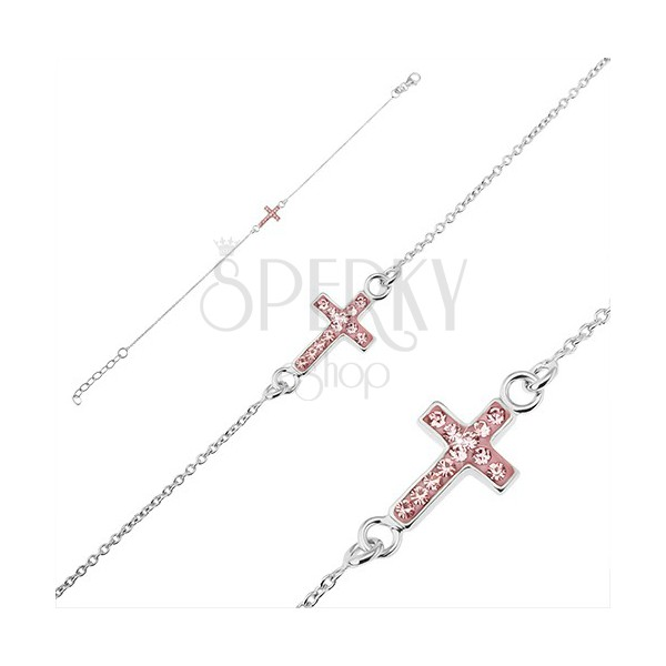 Srebrna zapestnica, čistina 925 - križ z roza cirkoni