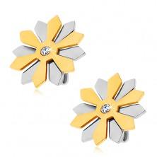 Jekleni uhani – cvet z zlatimi in srebrnimi cvetnimi lističi in cirkon