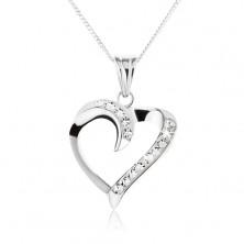 Ogrlica iz srebra - zavita silhueta srca s cirkoni