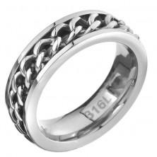 Prstan iz jekla - srednji del z verižico, srebrna barva