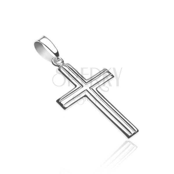Križ iz srebra čistine 925 - dve vzporedni črti