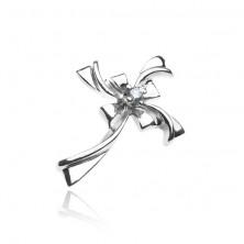 Obesek iz srebra čistine 925 - bleščeč zavit križ s prozornim cirkonom