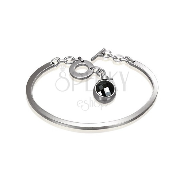 Jeklena zapestnica srebrne barve, nepopoln oval z visečim črnim cirkonom