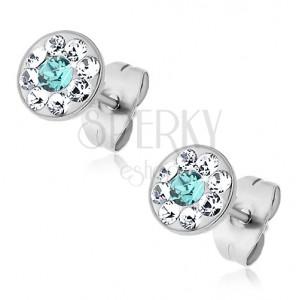 Jekleni uhani s svetlo modrimi in prozornimi kristali Swarovski, čepki