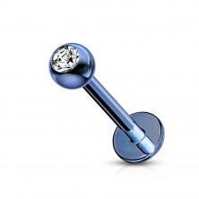 Labret iz nerjavečega jekla – kroglica s cirkonom, anodiziran titan